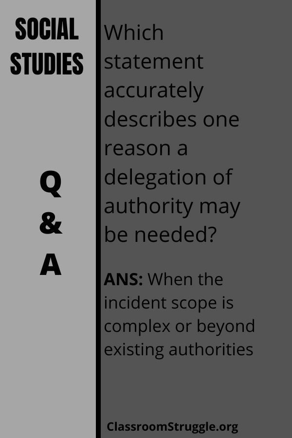 Which Statement Accurately Describes One Reason A Delegation Of Authority May Be Needed