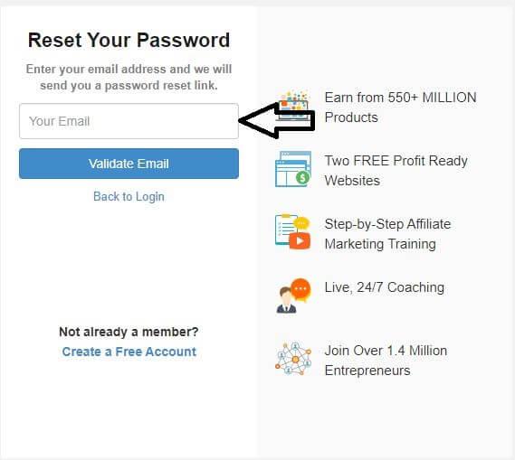 wealthy affiliate login password forgot