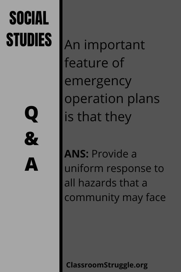 An important feature of emergency operation plans is that they