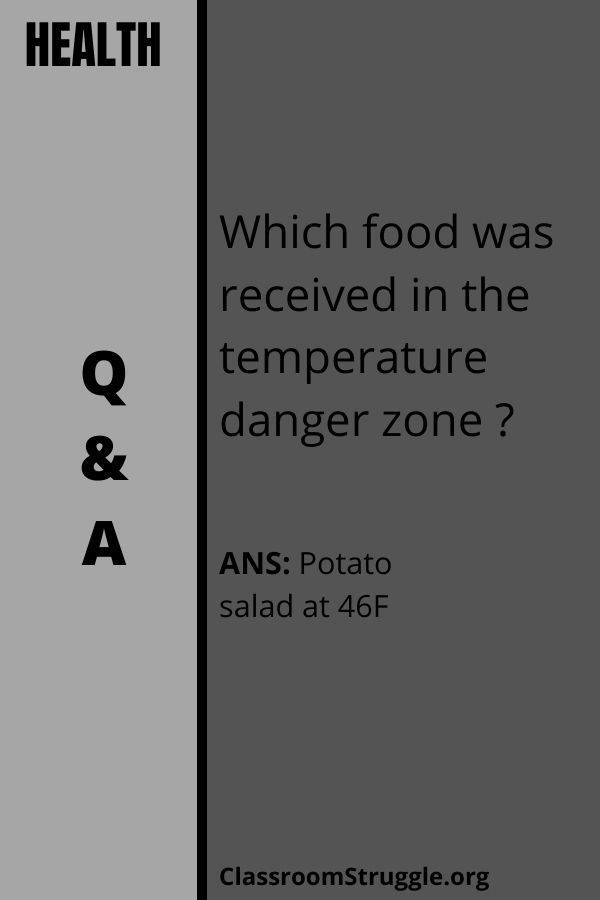 Which food was received in the temperature danger zone