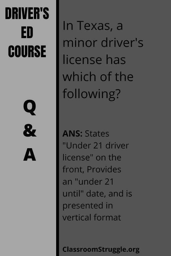 In Texas, a minor driver's license has which of the following?