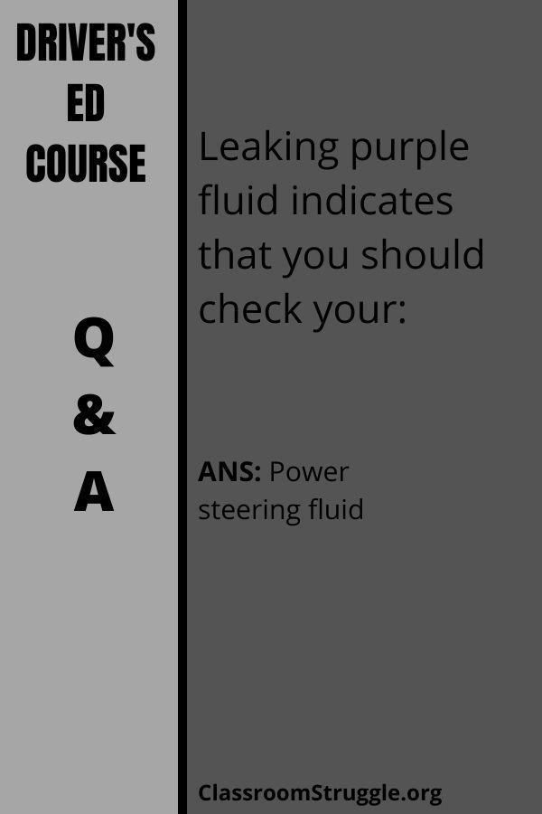 Leaking purple fluid indicates that you should check your: