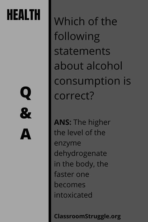 Which of the following statements about alcohol consumption is correct