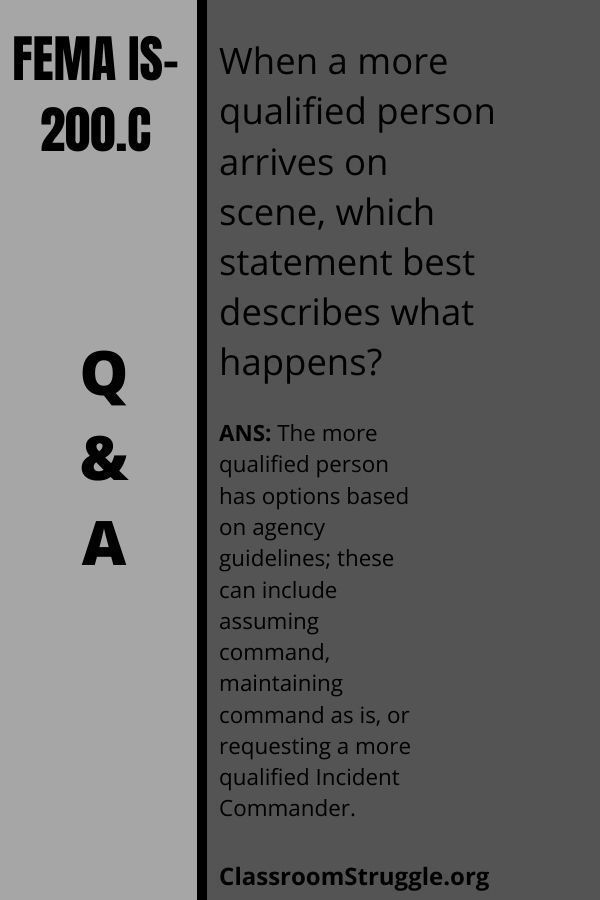When a more qualified person arrives on scene, which statement best describes what happens?