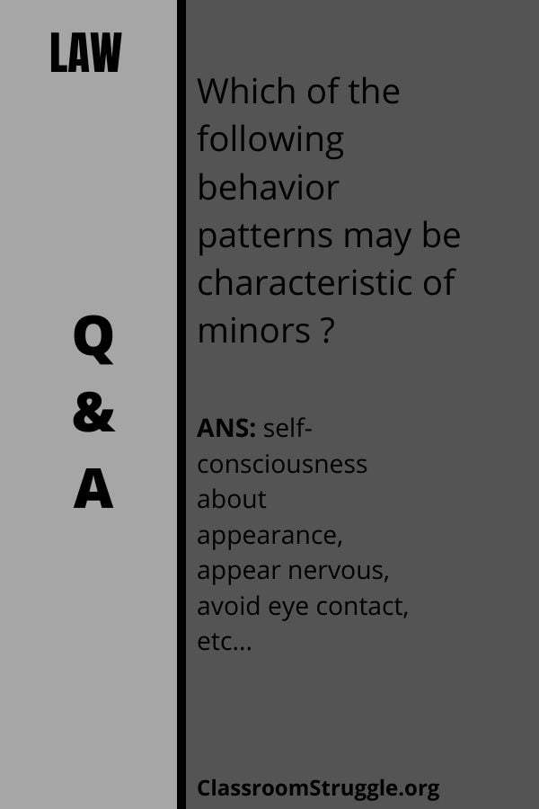Which of the following behavior patterns may be characteristic of minors