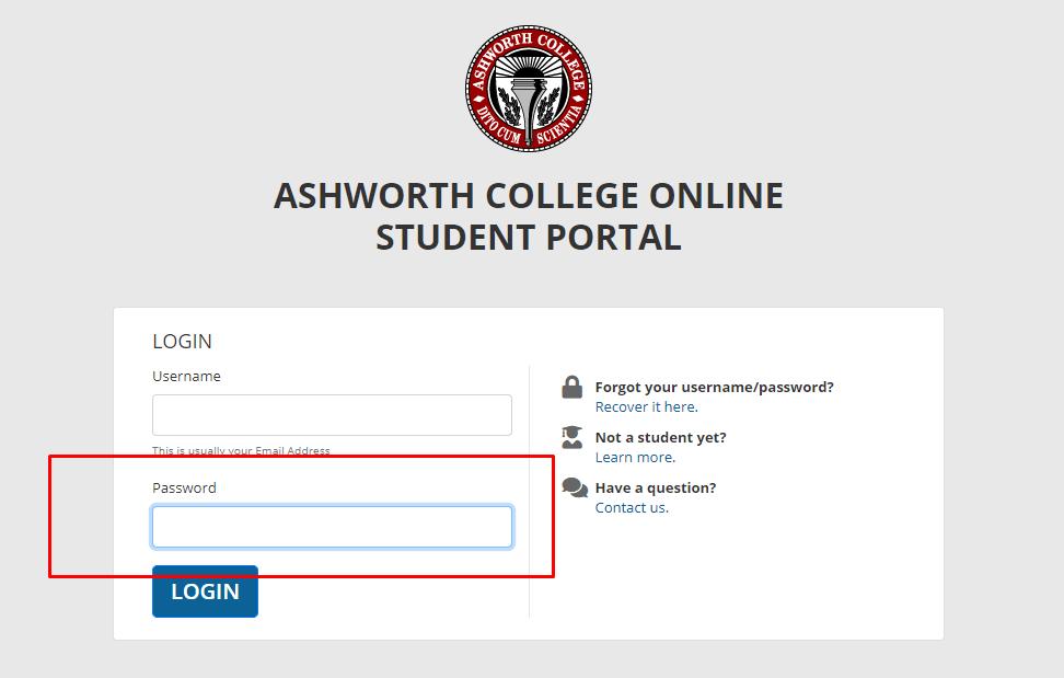 Ashworth student portal login page for entering password