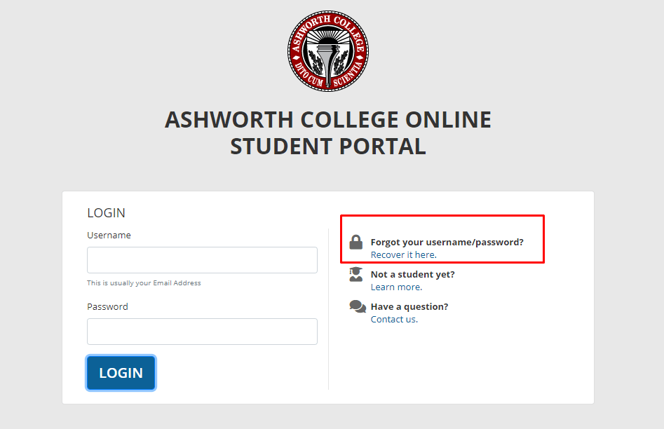 Ashworth student portal login page for resetting username and password