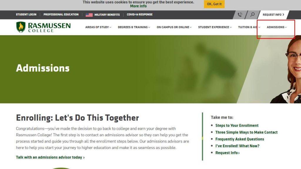 rasmussen college student portal homepage