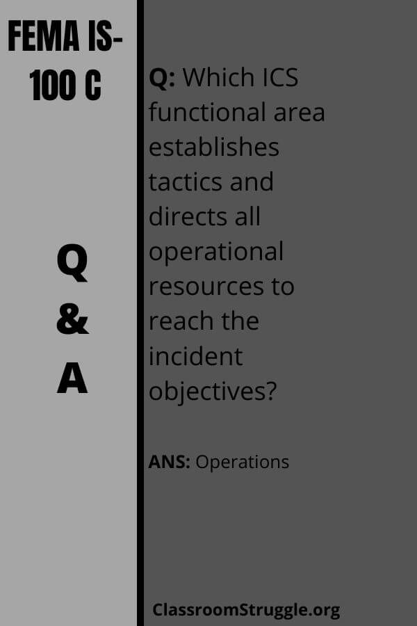 Which ICS functional area establishes tactics and directs all operational resources to reach the incident objectives?