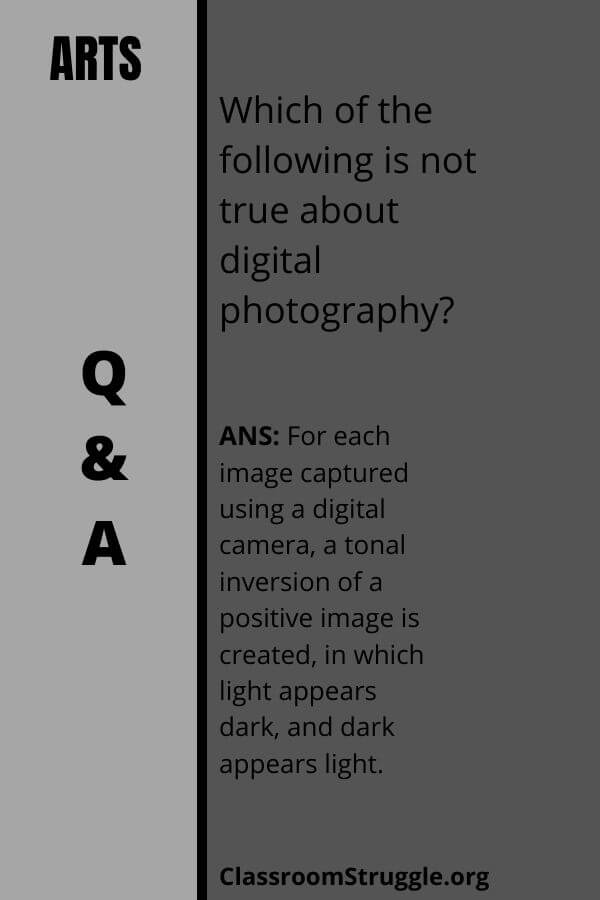 Which of the following is not true about digital photography