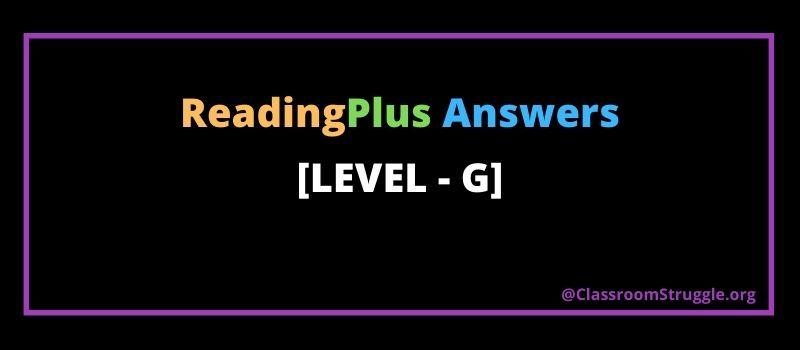Reading plus answers level g