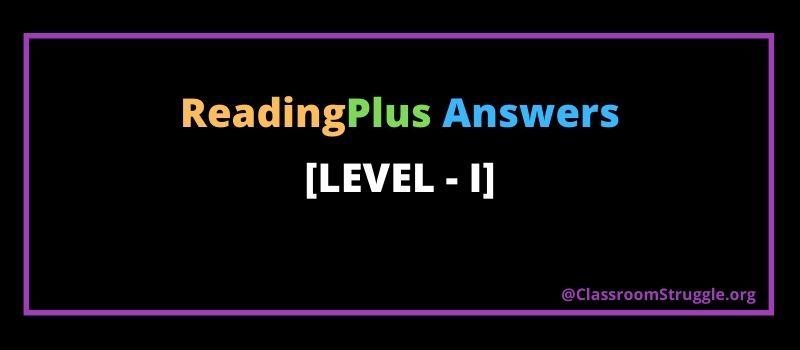 Reading plus answers level i