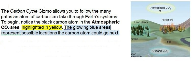 carbon cycle gizmo warm up answer key